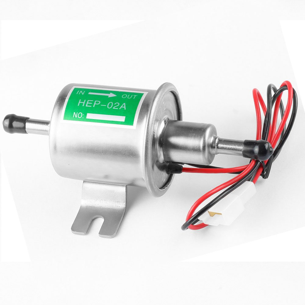 Universal Automotive modificado HEP-02A 12 V Heavy Duty Metal eléctrica bomba de combustible para gasolina y diesel (Plata)