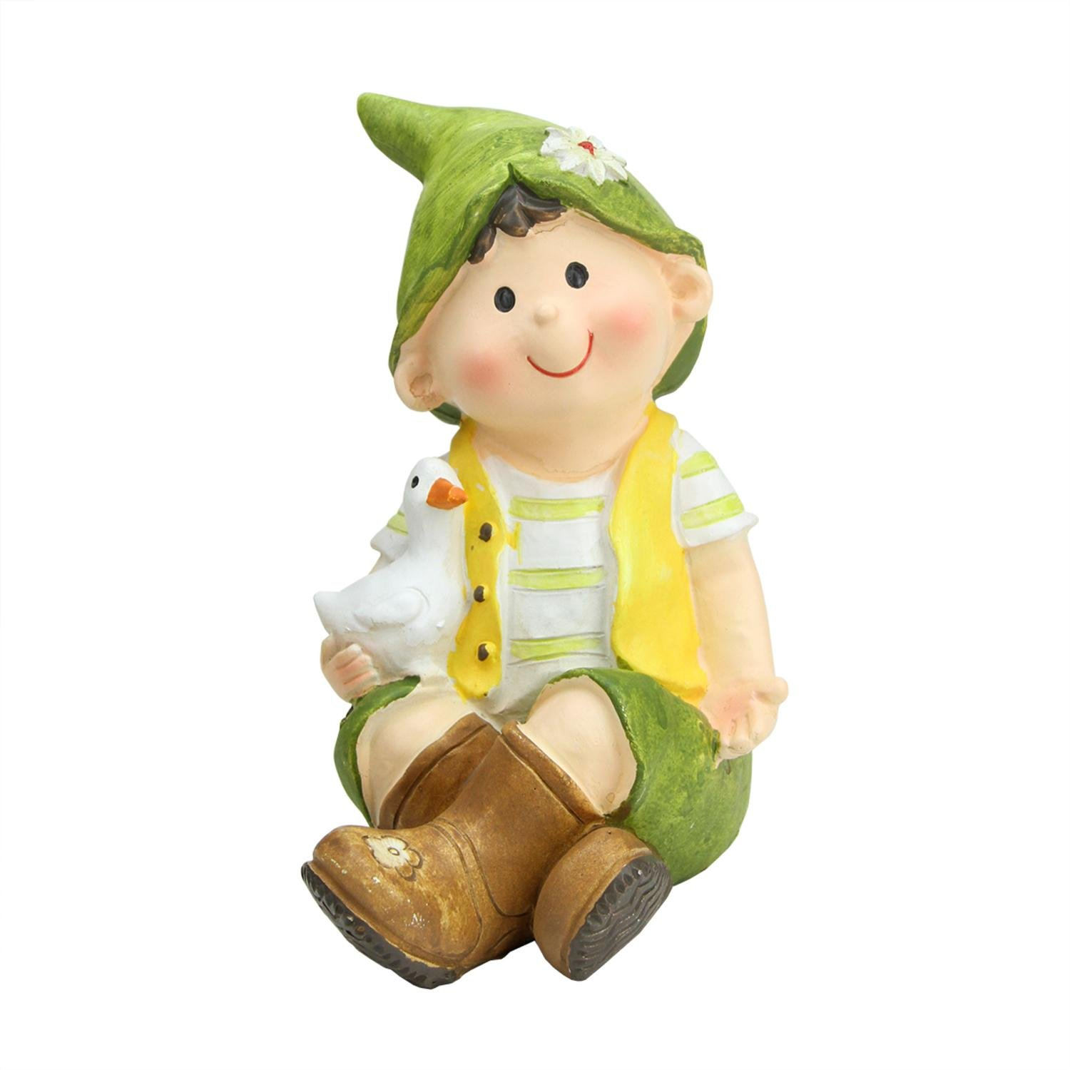 Northlight QQ76229 A Young Boy Gnome Sitting with Duck Spring Outdoor Garden Patio Figure Statuary and Fountains, 7'', Green
