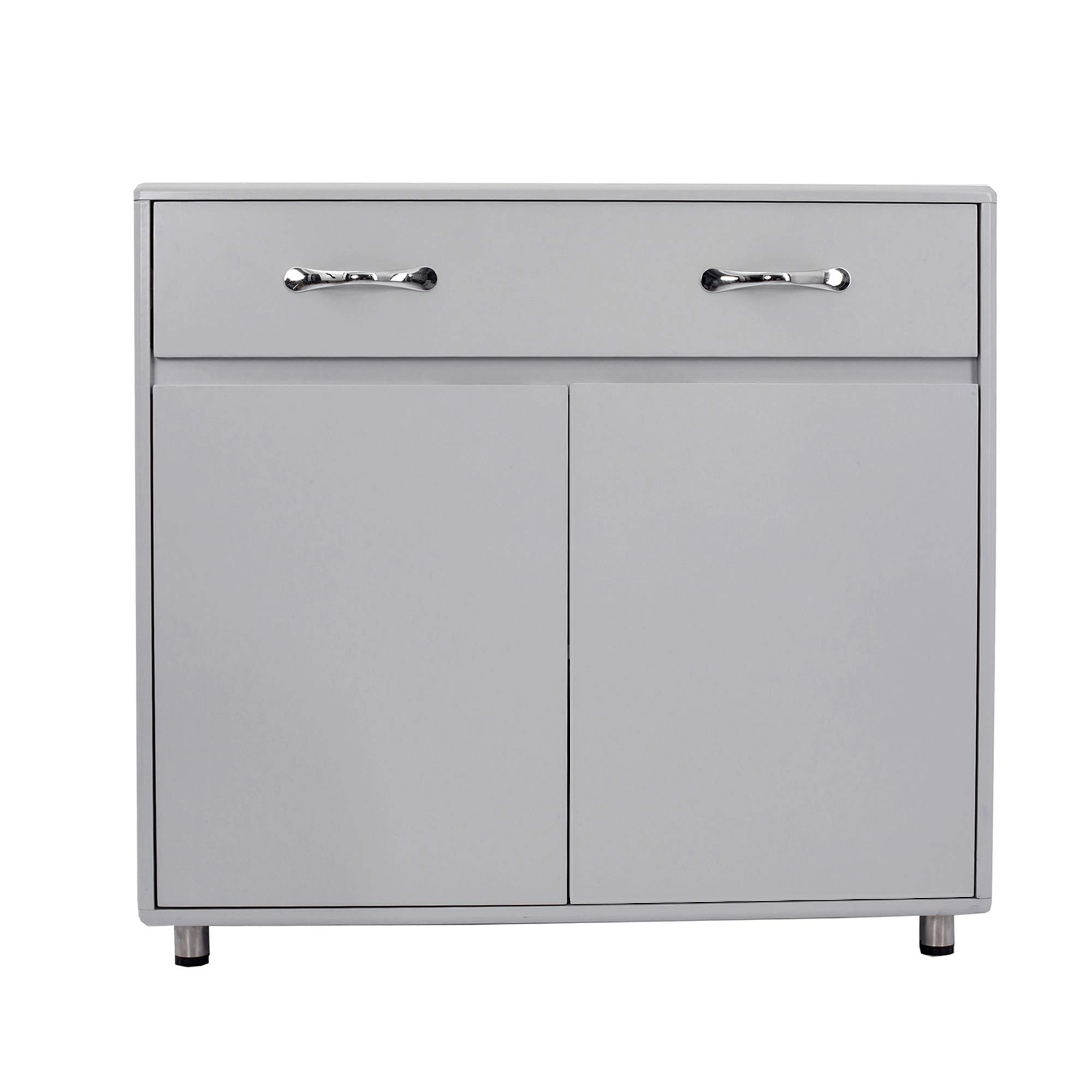 GLCHQ Storage Drawer File Cabinet nightstand Side Cabinet (Two Doors, Grey) by GLCHQ