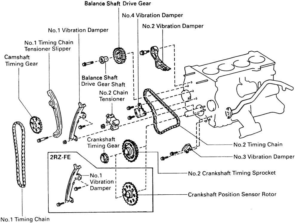 MOCA Timing Chain Kit 9-4196S for 1995-2004 Toyota Tacoma 1996-2000 Toyota 4Runner 2.7L L4 3RZFE 1994-1998 Toyota T100