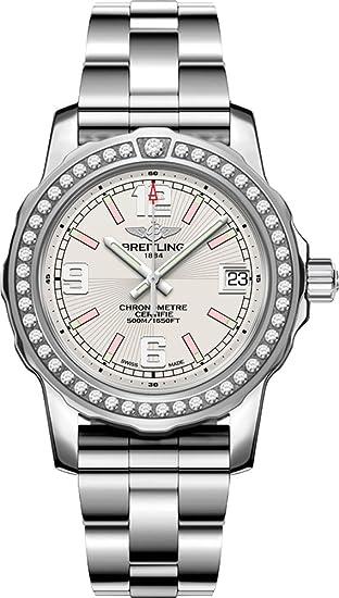 Breitling Colt Lady esfera de plata con diamante bisel reloj de pulsera de mujer a7738753/
