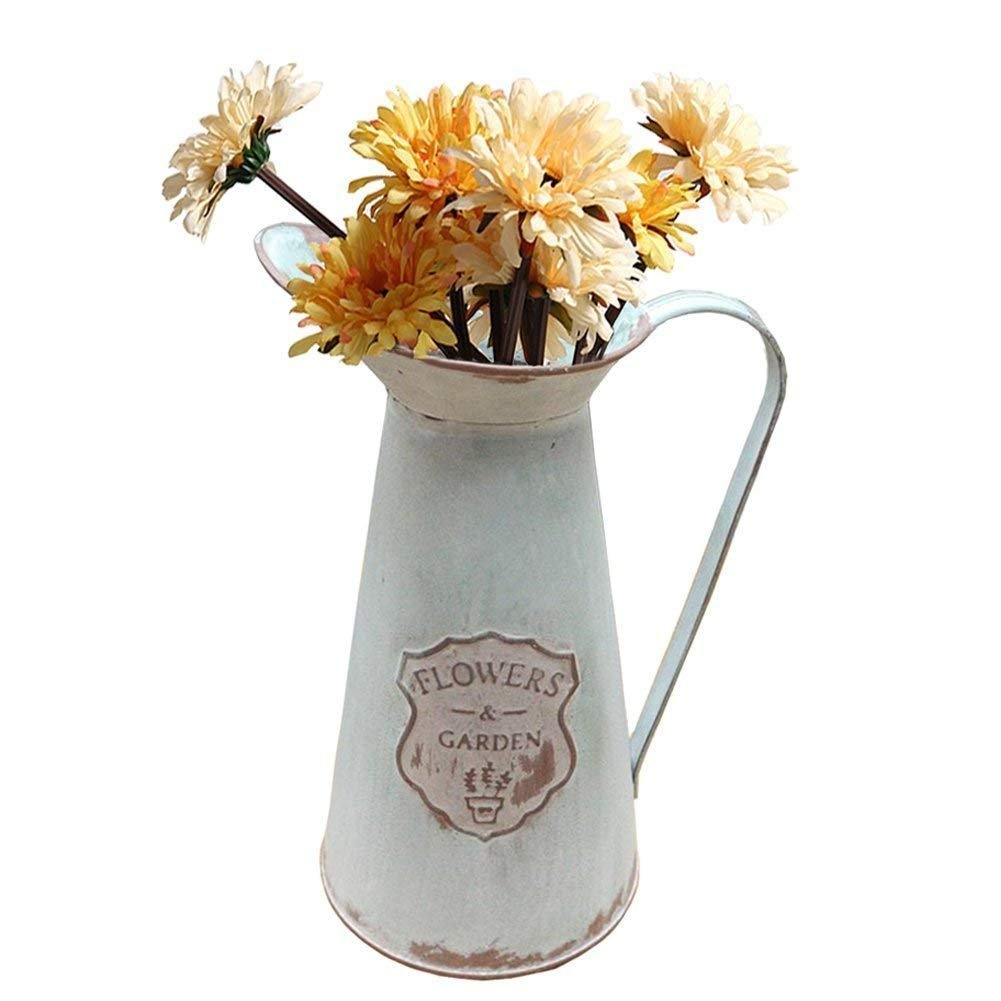 APSOONSELL Rustic Metal Flower Vase Primative Jug pitcher for Country Farmhouse Decor