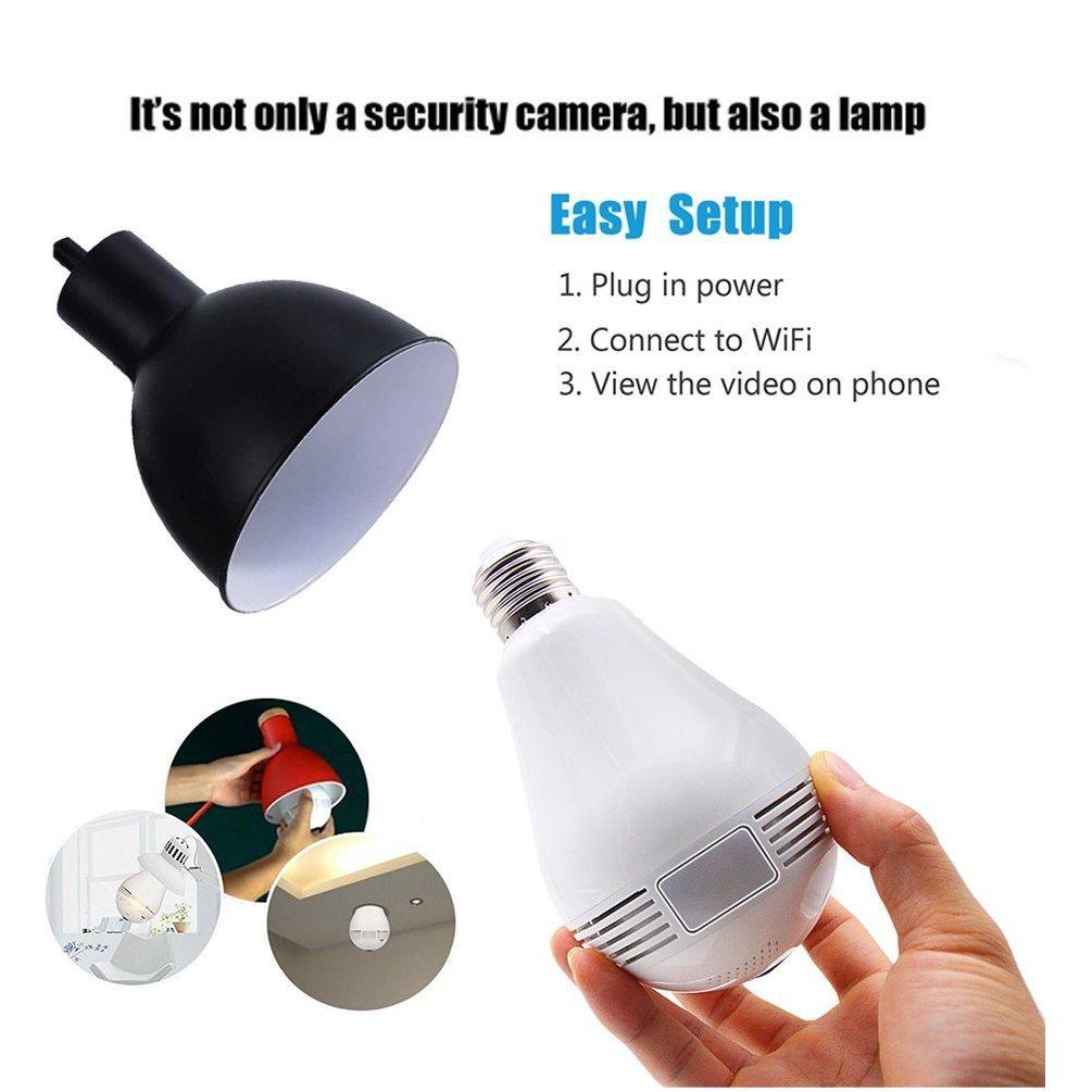 Amazon.com : Borme Light Bulb Wifi Hidden Camera 360-Degree Fisheye Panoramic Network Hd Wireless Camera Spy Cam, LED Bulb Light Mini Home Security White ...