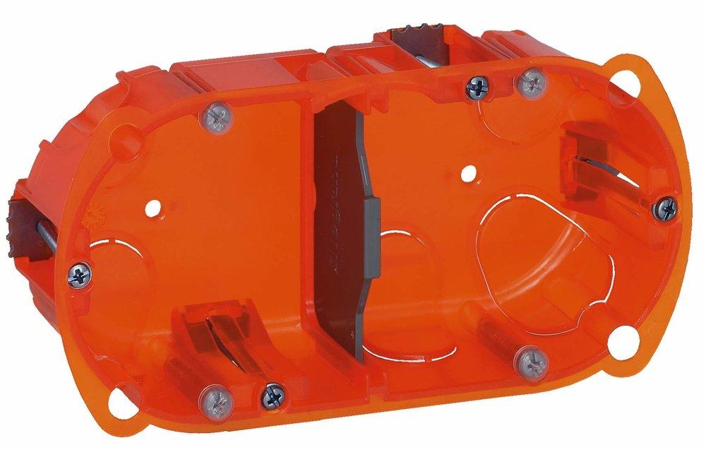 Legrand LEG90502 Bo/îte dencastrement 2 postes Batibox multi mat/ériaux Profondeur 40 mm