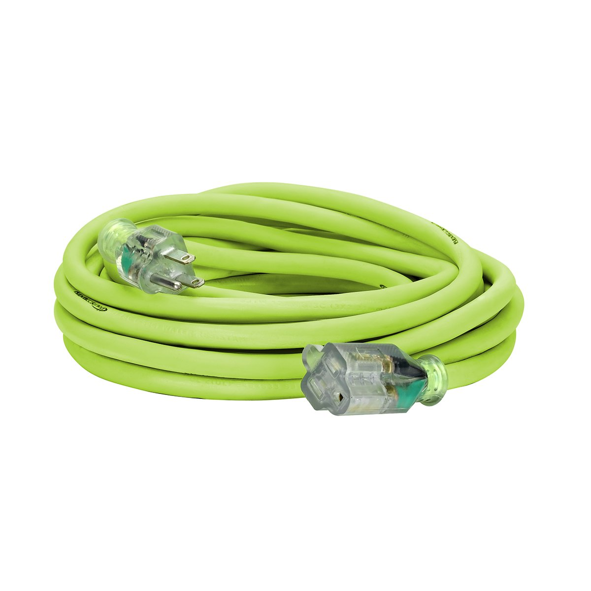 Flexzilla Pro Extension Cord, 12/3 AWG SJTW, 25 ft, Lighted Plug, Indoor/Outdoor, ZillaGreen - 721-123025FZL5F