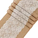 "Ling's moment 12""x72"" Burlap Lace Table Runner Country Outdoor Wedding Decoration ,Baby & Bridal Shower Décor, Farmhouse Kitchen decoration"