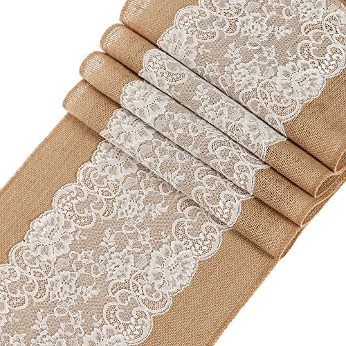 Ling's moment 12x108 inch Burlap Hessian Table Runner with Lace, Fall Decoration Country Rustic Barn Wedding Reception Table Decoration ,Baby & Bridal Shower Décor, Farmhouse Kitchen (Halloween Decorations Houston Texas)