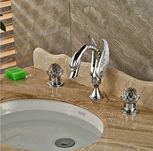 GOWE Polished Chrome Widespread Swan Basin Sink Faucet Deck Mount Dual Handles Mixer Taps 2