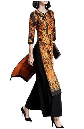 Zimaes-Women Wide Leg Pants Floral Tribal Long Dress 2Pcs ...