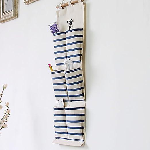 dise/ño de Flamenco para Dormitorio Bolsa de Almacenamiento Impermeable para Colgar en la Pared Cocina y ba/ño algod/ón Artily 86666652 Azul Rayas 65 * 25CM