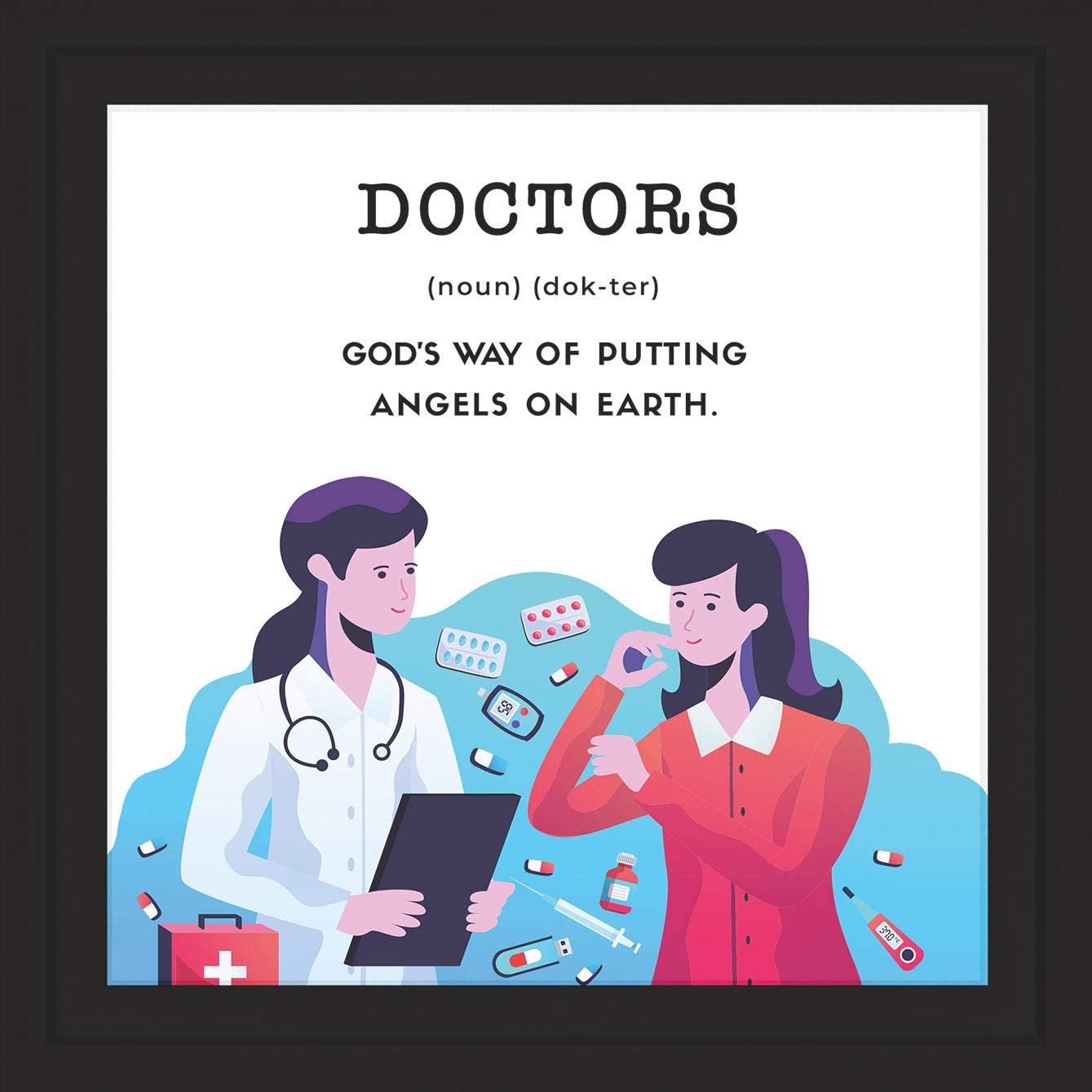 Medical Office Decorations | Appreciation Sign Gifts For Doctors | School Nurse Wall Art | Gift For Medical Student | Doctor Desk Art Decor Accessories | Medical Picture Frame