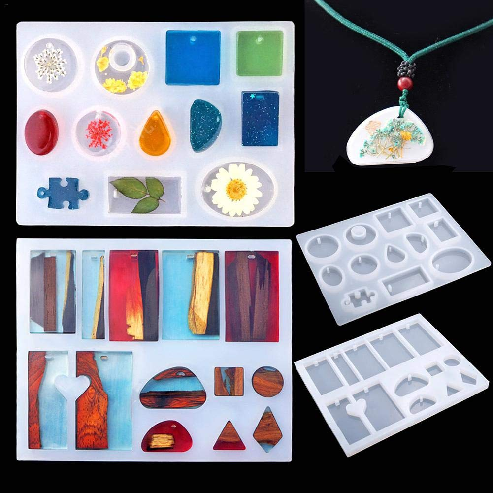 SNIIA 83 Pieces Jewelry Casting Molds Tools Set Resin Casting Molds Assorted Styles Silicone Molds Screw Eye Pins Droppers Stirrers Spoons for Jewelry Pendant Making