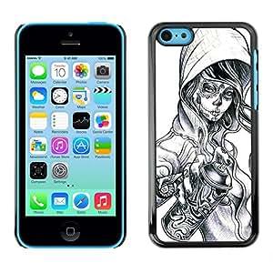 GOODTHINGS Funda Imagen Diseño Carcasa Tapa Trasera Negro Cover Skin Case para Apple Iphone 5C - zombie tatuaje de la pintada aerosol muchacha del cráneo