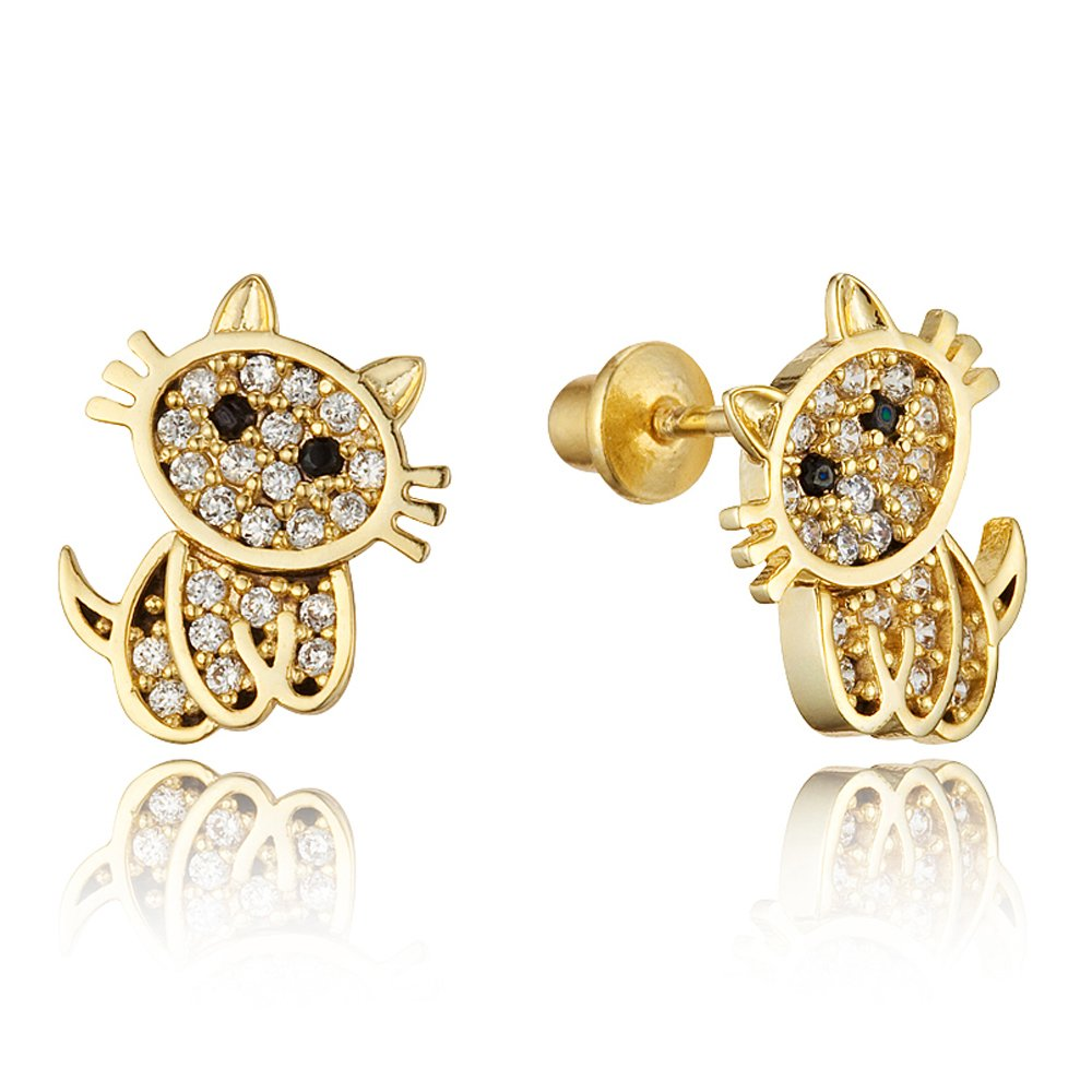 14k Gold Plated Brass Baby Cat Screwback Girls Earrings with Sterling Silver Post Lovearing BE3176