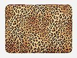Lunarable Animal Print Bath Mat, Wild Animal Leopard Skin Pattern Wildlife Nature Inspired Modern Illustration, Plush Bathroom Decor Mat with Non Slip Backing, 29.5 W X 17.5 W Inches, Sand Brown