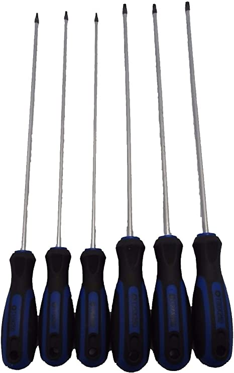 T30 Screwdrivers Length 250mm 6pc Extra Long Torx Star Screwdriver Set T10
