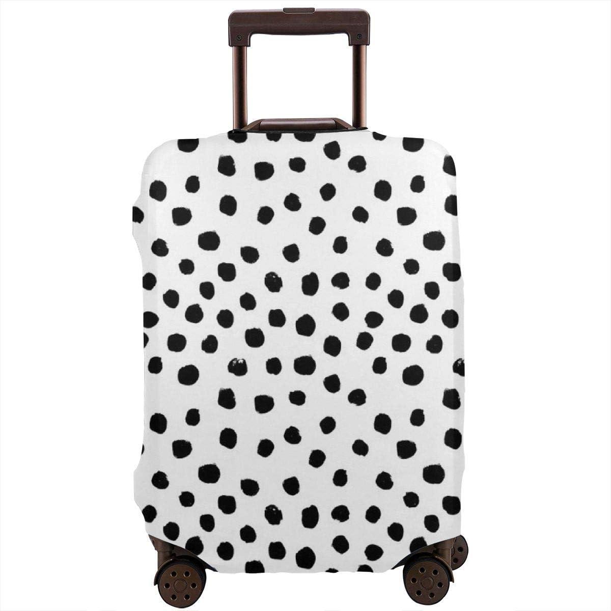 Preppy - Funda para Maleta de Viaje con diseño de Puntos Blancos y Negros