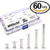 Hilitchi 60-Set M5 x 5 / 10 / 15 / 25 / 35 / 45 Phillips Chicago Screw Binding Screws Posts Assortment Kit for Scrapbook Photo Albums Binding and Leather Saddles Purses Belt Repair