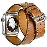 Valkit for Apple Watch Band iWatch Bands 42mm Genuine Leather Strap iPhone Smart Watch Band Bracelet Replacement Wristband with Stainless Steel Adapter Clasp for Apple Watch 2 1, Double Tour Brown