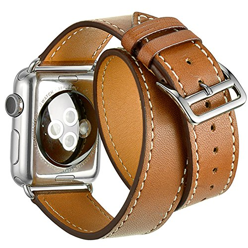 Valkit for Apple Watch Band, 38mm iWatch Bands Genuine Leather Strap iPhone Smart Watch Band Women Bracelet Replacement Wristband Men with Adapter for Apple Watch Series 3 2 1, Double Tour, Brown by Valkit