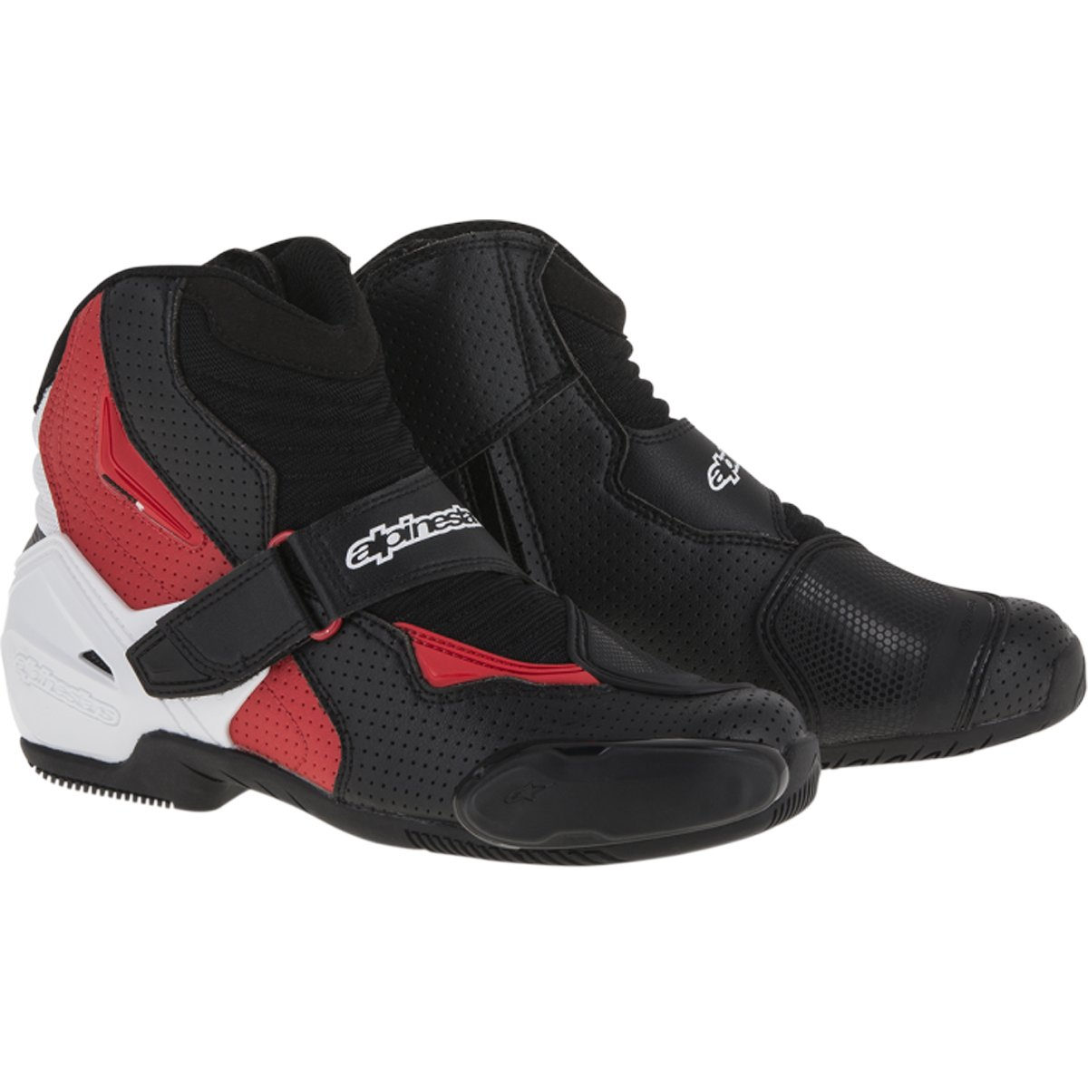 Alpinestars SMX-1 R Vented Boots (41) (Black/White/RED) by Alpinestars
