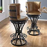 Wine Enthusiast Tequila Barrel Stave Stool with Leather Seat