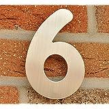 Numero de Maison n°6 - acier inox brossé - 15 cm - résistant aux intempéries - Installation facile