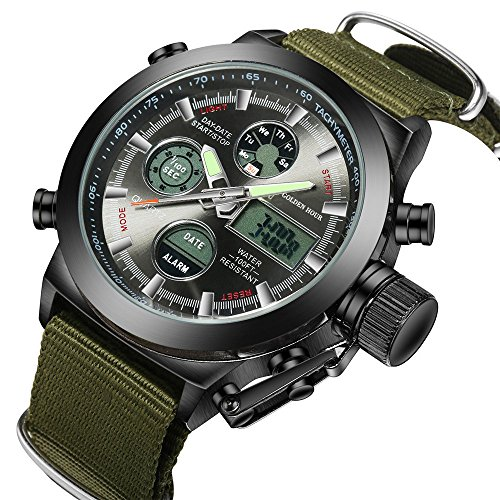 Watch, Big Face Sports Watch for Men, Waterproof Military Multifunction LED Date Chronograph Green Canvas Band Mens Watch