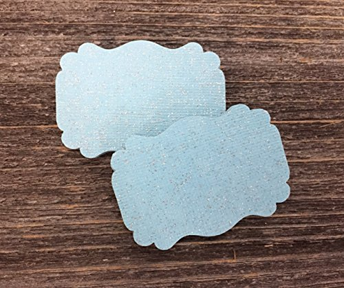 50 Blank Glitter Light Blue Scalloped Edge Bracket Hang Tags Tag - Baby Boy Wedding Party Card from Bella Supply Boutique