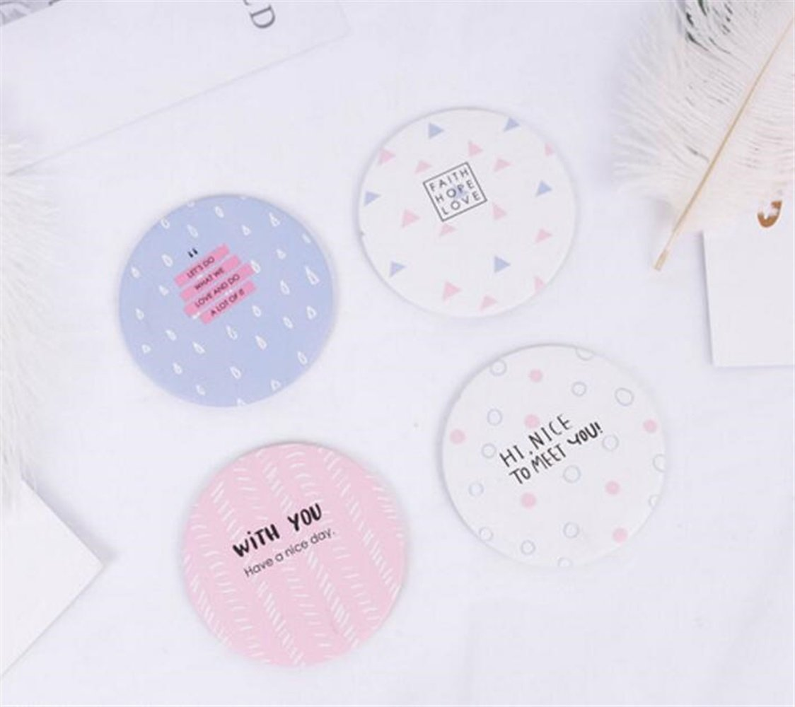 Yingealy Childrens Mirror Mini Round Cartoon Geometric World Pattern Small Glass Mirrors Circles for Crafts Decoration Cosmetic Accessory