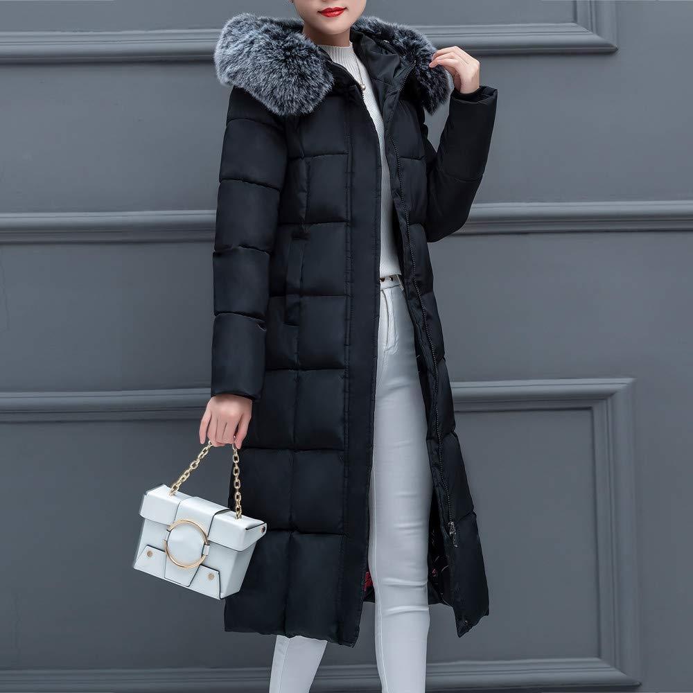 Balakie Womens Winter Coat Faux Fur Hood Solid Thick Warm Slim Long Jacket Outwear