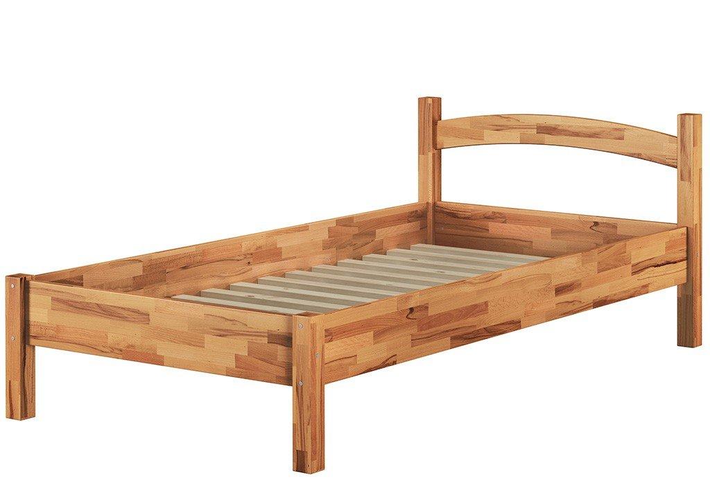 Erst-Holz® Massivholzbett Buche Natur 90x200 Einzelbett Bettgestell mit Rollrost 60.73-09