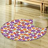 Pineapple Decor Circle carpet by Nalahomeqq Lively Bright Colored Print with Natural Leaves Hibiscus Flowers Pineapples Tropic Hawaii Room Accessories Multi-Diameter 160cm(63'')