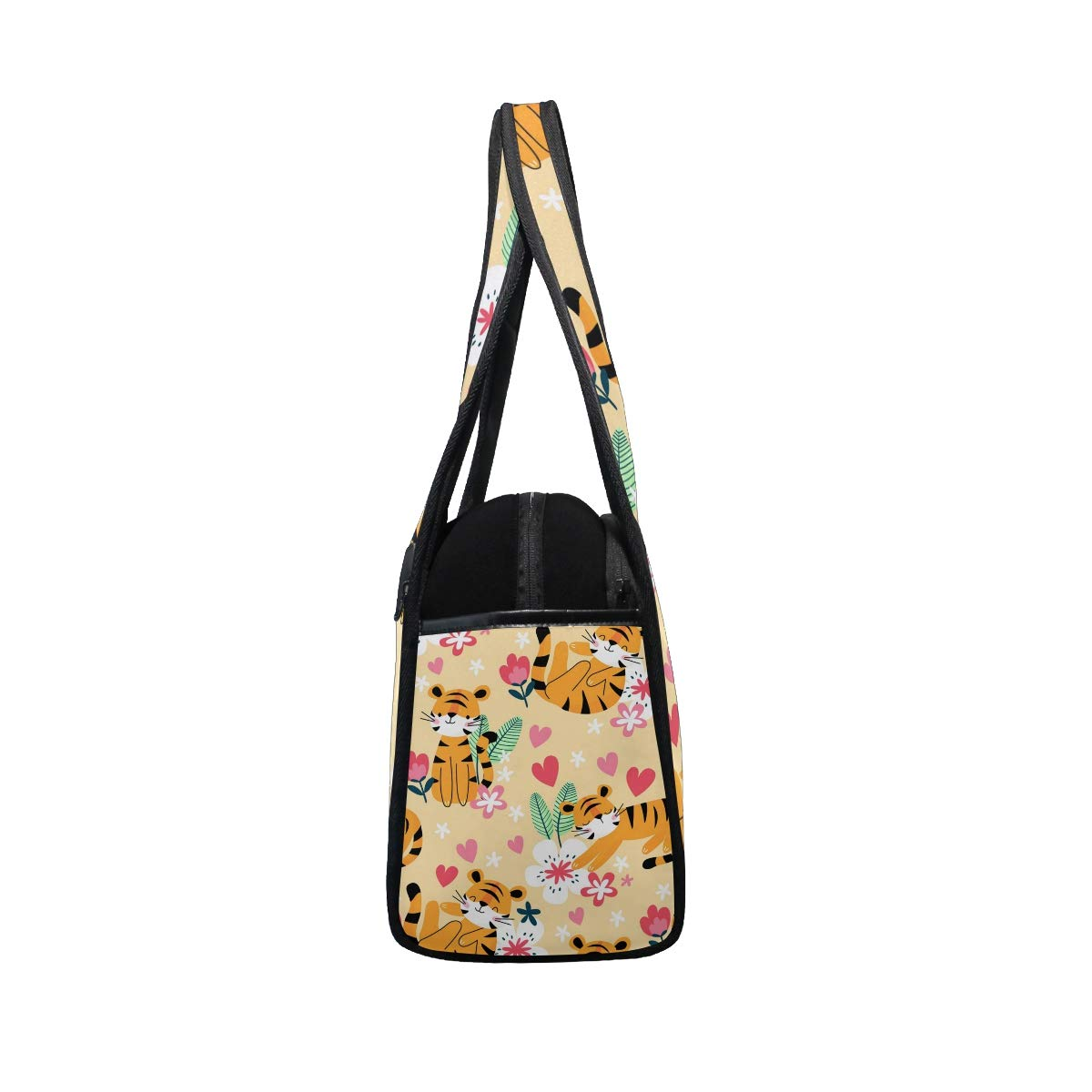 Cartoon Tiger With Floral Pattern Women Sports Gym Totes Bag Multi-Function Nylon Travel Shoulder Bag