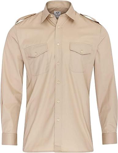 Camisa de manga larga estilo militar para hombre: Amazon.es: Ropa y accesorios
