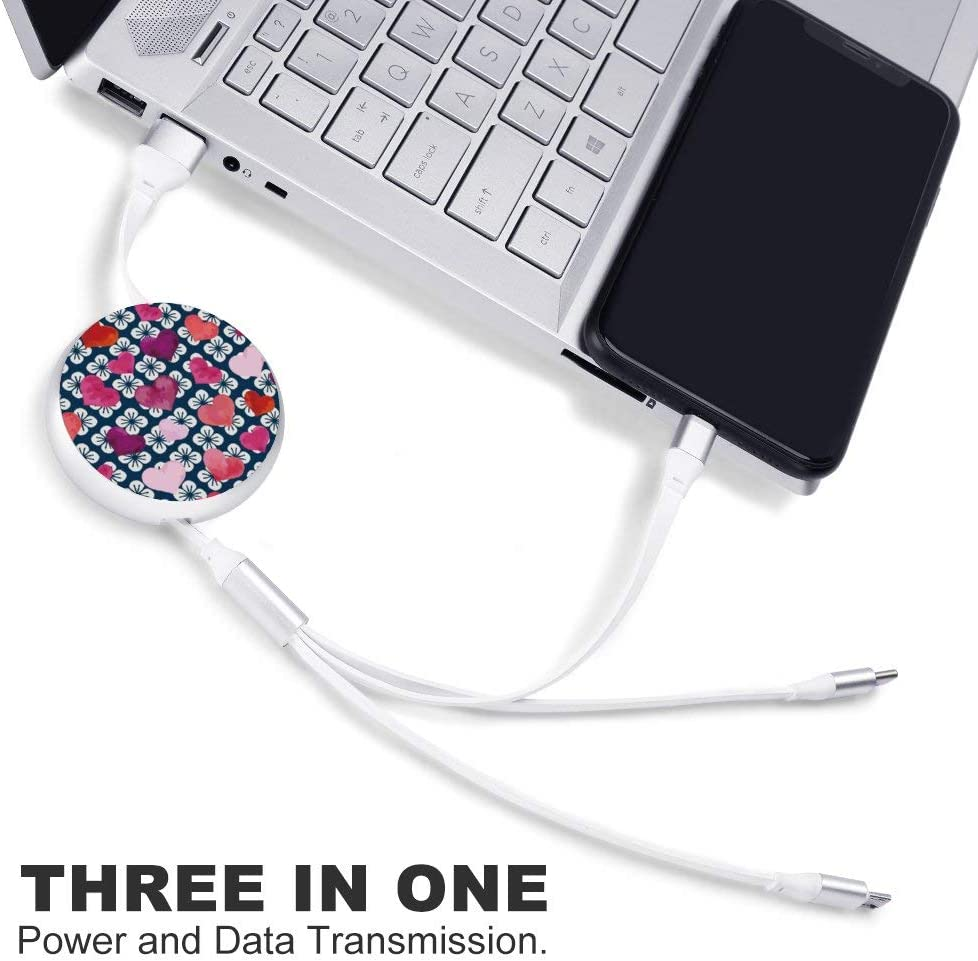 Multi Charging Cable Portable 3 in 1 Paw Pattern USB Cable USB Power Cords for Cell Phone Tablets and More Devices Charging