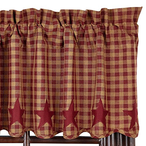VHC Brands Classic Country Primitive Kitchen Window Curtains-Star Red Scalloped Valance, Burgundy (Burgundy Star)