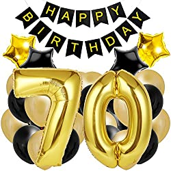 70th Birthday Decorations for The Best 70th Birthday Party - Includes Happy Birthday Banner, Large Number 70 Birthday Latex Balloons + 24 Balloons in Black and Gold. Have a Happy 70th Birthday!