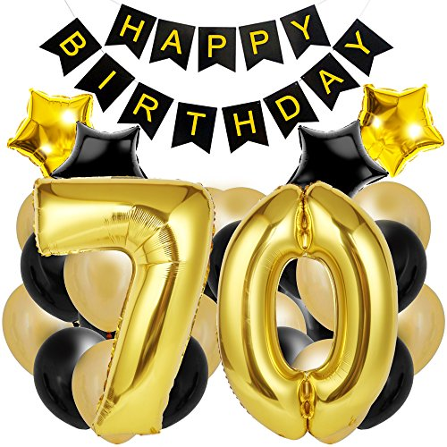 70th Birthday Decorations for The Best 70th Birthday Party - Includes Happy Birthday Banner, Large Number 70 Birthday Latex Balloons + 24 Balloons in Black and Gold. Have a Happy 70th Birthday! ()