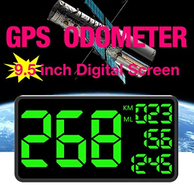 Kingneed Truck GPS Speedometer 9.5 inch Extend Digital Display Vehicle Odometer Total Mileage Overspeed Alarm MPH: Car Electronics