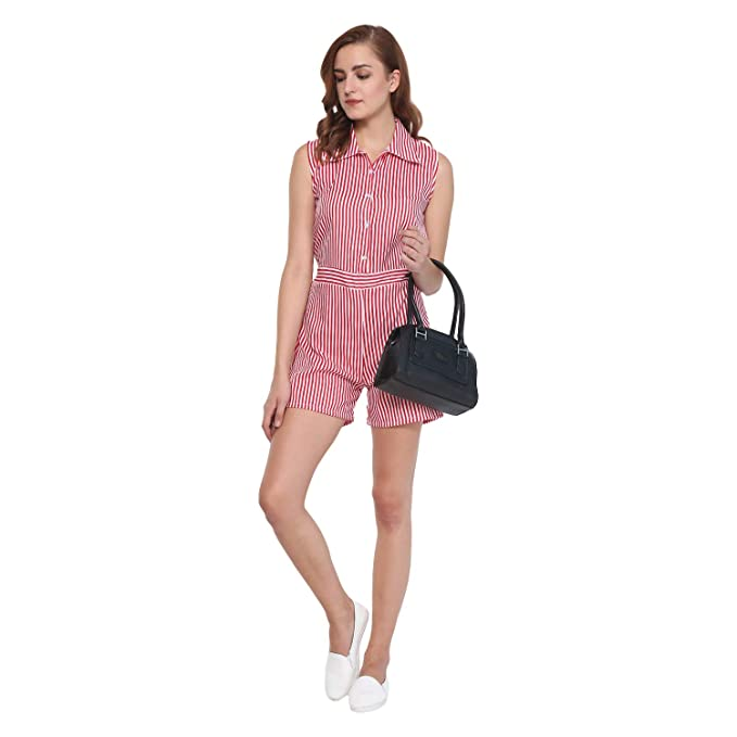 99bd19bfe3 Vivient Women Red and White Stripe Printed Short Jumpsuit Playsuit   Amazon.in  Clothing   Accessories