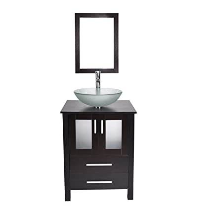 24 Inch Bathroom Vanity With Frosted Tempered Glass Vessel Sink Round Bowl Modern Stand Pedestal Cabinet Frame Mirror Chorme Faucet Pop Up Drain