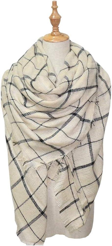 Excellent Womens Fall Winter Scarf Classical Tassel Tartan Plaid Scarf Warm Lenient Kerchief Wrap Shawl Scarves