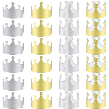 Amazon.com: LOCOLO 24 Piezas Coronas de papel de oro para ...