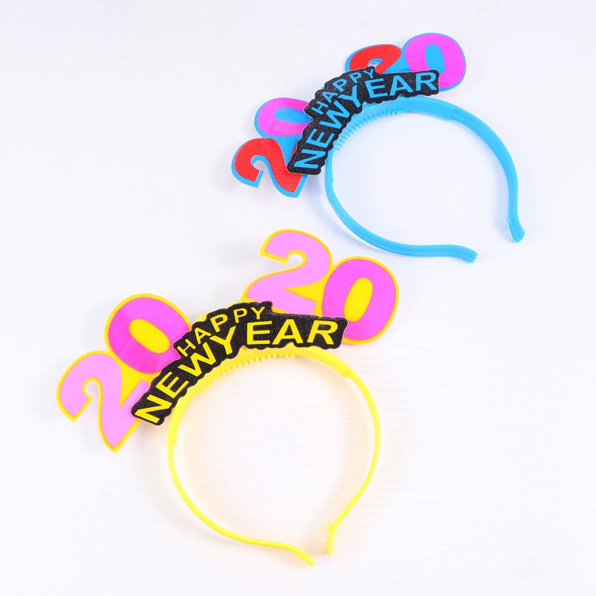 Amosfun 4 piezas 2020 a/ño nuevo led diademas iluminadas sombreros 2020 fiesta de fin de a/ño favorece regalos color aleatorio color aleatorio