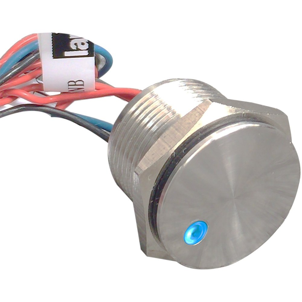 Generic 16mm Stainless Steel Dot Illuminated Piezo Switch with Momentary 12v Blue Led