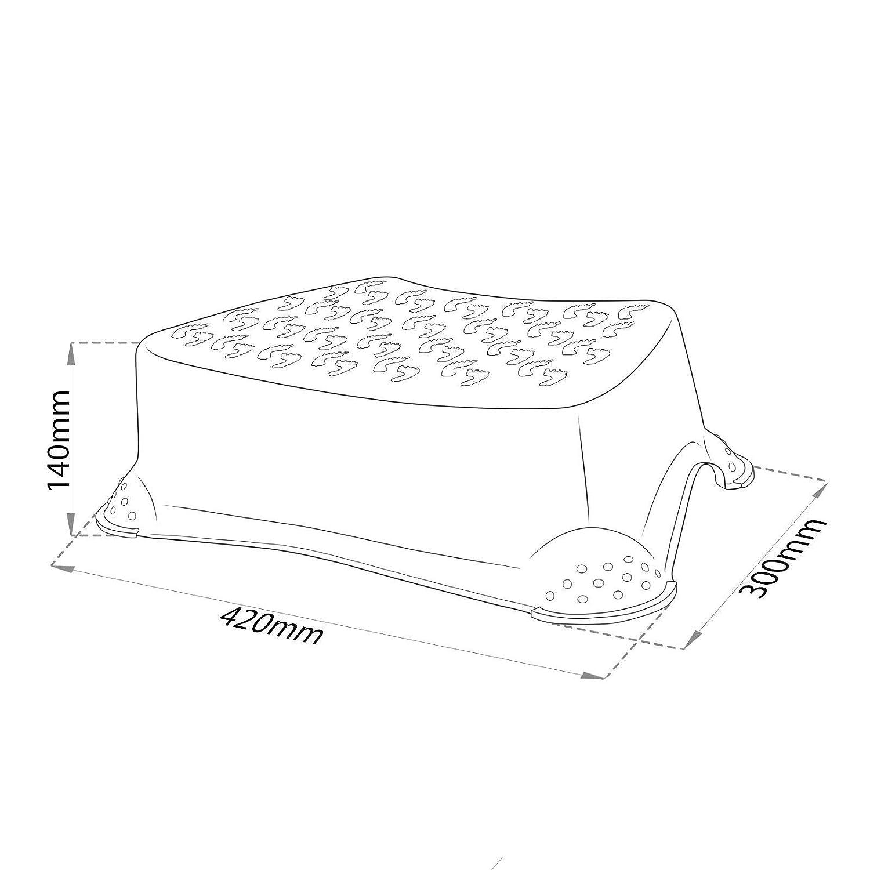 Premium Tritthocker weiss//blau stabiler Hocker f/ür Kinder mit Anti-Rutsch-Funktion