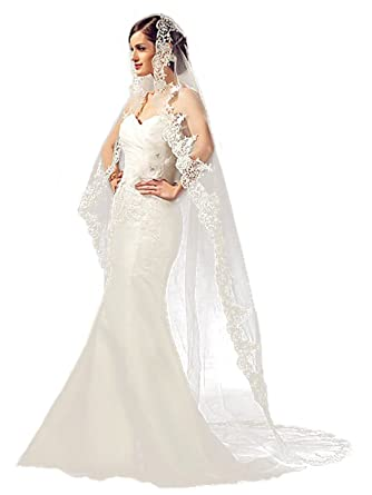 4efe277c99 Barogirl Lace Wedding Veil Cathedral Length Ivory Bridal Veil with Comb