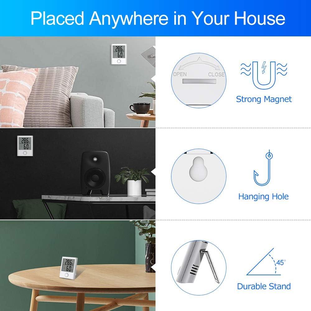 HOPLAZA Term/ómetro Higrometro Digital Mini para Interior Medidor de Temperatura y Humedad Pantalla LCD para Medir Ambiente del Hogar