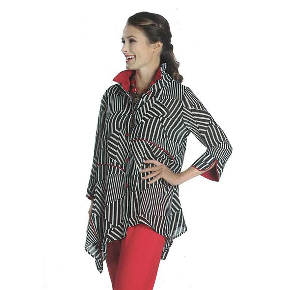 IC Collection Striped Handkerchief Hem Blouse in Black, White & Red- 1118J (XL)